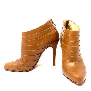 Christian Louboutin brown leather booties